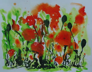 Poppies on Green